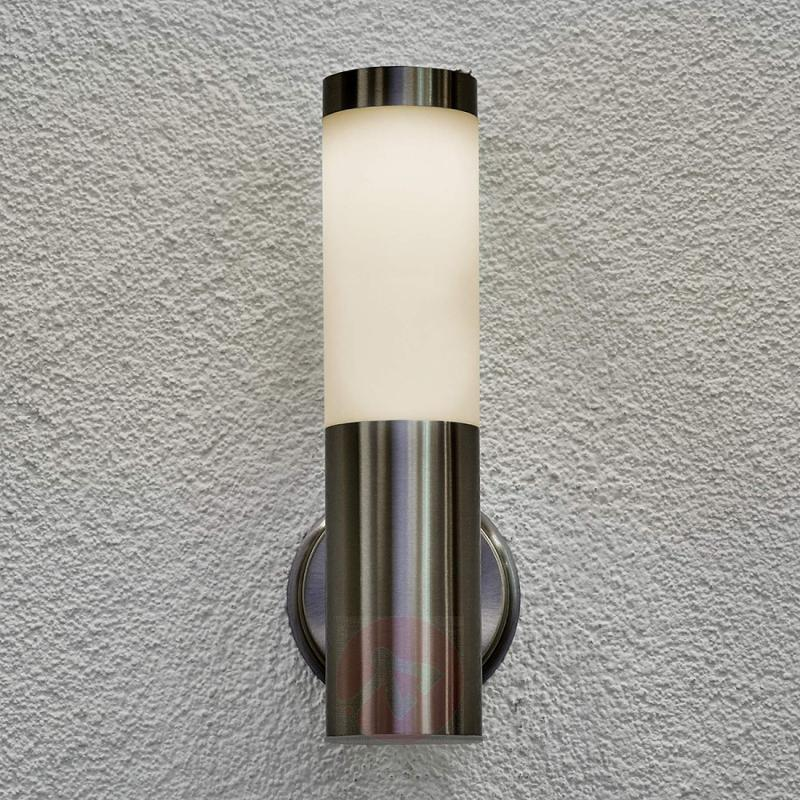 Solar outdoor wall lamp Jolla with LED - stainless-steel-outdoor-wall-lights