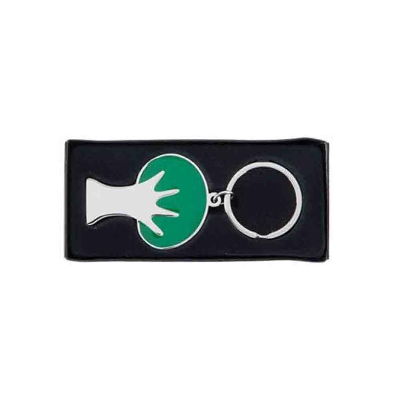 Porte-clef arbre vert/métal brillant - Porte-clés métal
