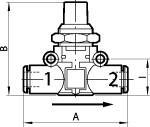 Blocking valve lineonline , Hose - hose, for hose 8 mm - Shut-off valve, pipe - pipe
