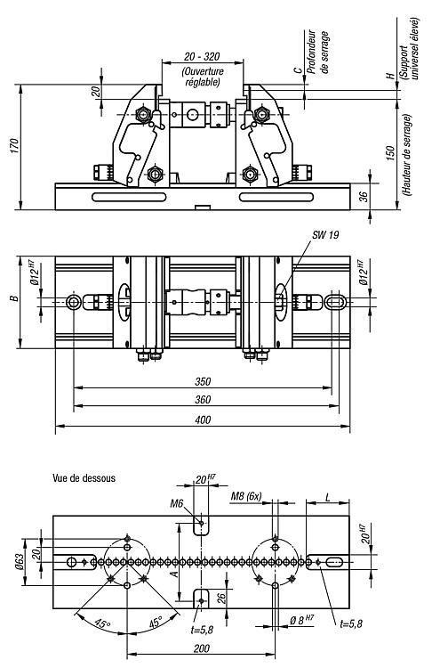 Étau de bridage 5 axes compact mors de serrage lisse - Étaux