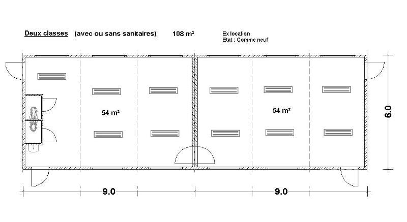 Constructions modulaires  - Deux classes de 108 m² - avec ou sans sanitaires