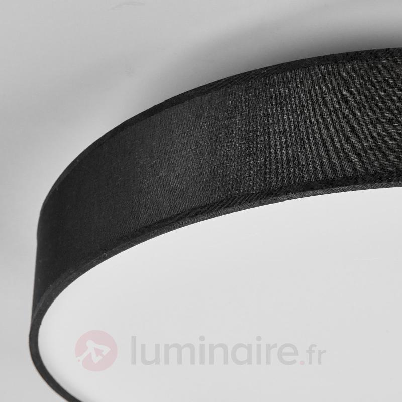 Plafonnier rond en textile LED Saira en noir - Plafonniers en tissu