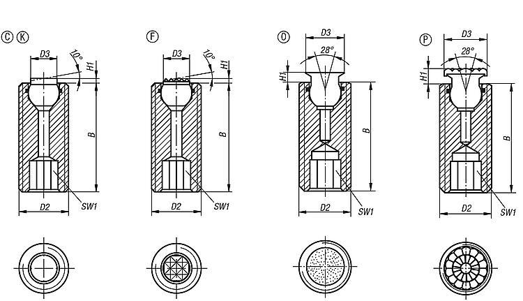 Self-aligning Pads Adjustable With O-ring And Hexagon Socket - Self-aligning pads