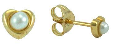 Gold heart & pearl stud earring -
