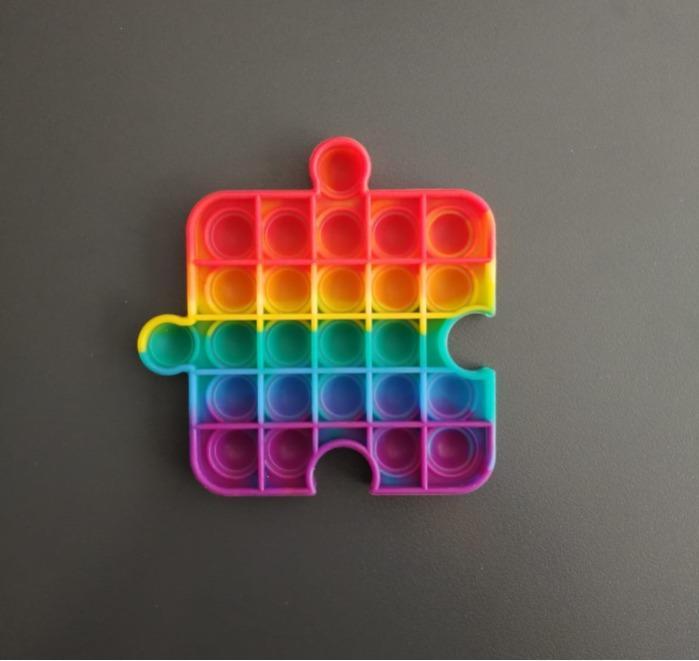 Silicone Push Pop Bubble Fidget Toy - Silicone, Rainbow