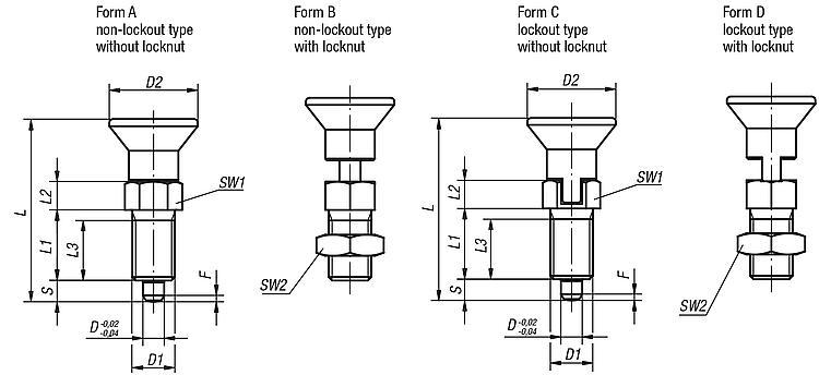 Indexing Plungers - Spring plungers Indexing plungers Stops Centring/positioning components Ball loc
