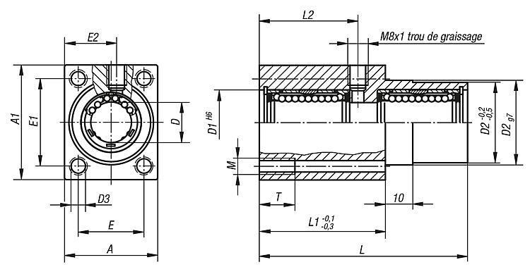 Palier linéaire à billes double, avec bride - Système de guidage linéaire