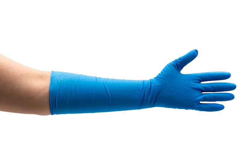 Nitril-Handschuhe, Blau, Länge 400 mm, Gr. L - Nitril Untersuchungshandschuhe