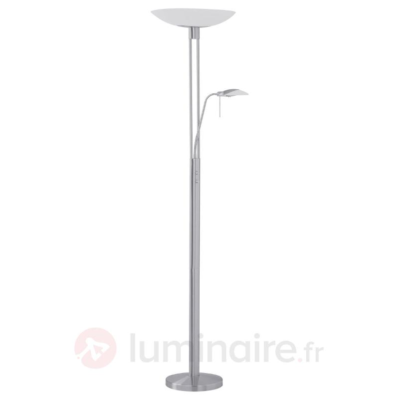 Lampadaire indirect moderne TAMPA nickel mat - Lampadaires à éclairage indirect
