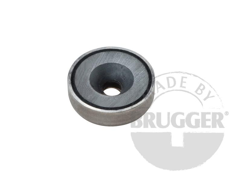 Flat pot magnets hard ferrite, with bore and counter - null