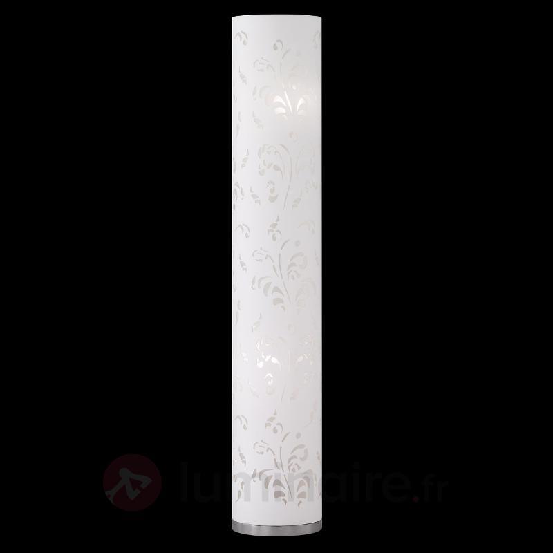 Fin lampadaire Flora, abat-jour blanc avec décor - Tous les lampadaires