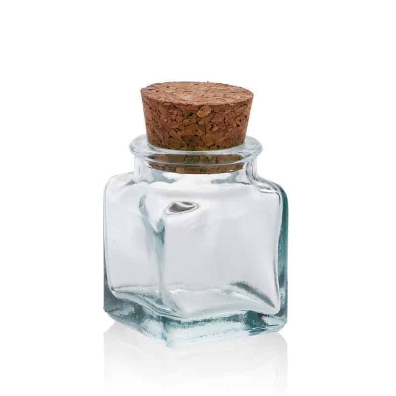 24 Mini bocaux Carrés 30 ml, avec bouchon en liège - Mini bocaux