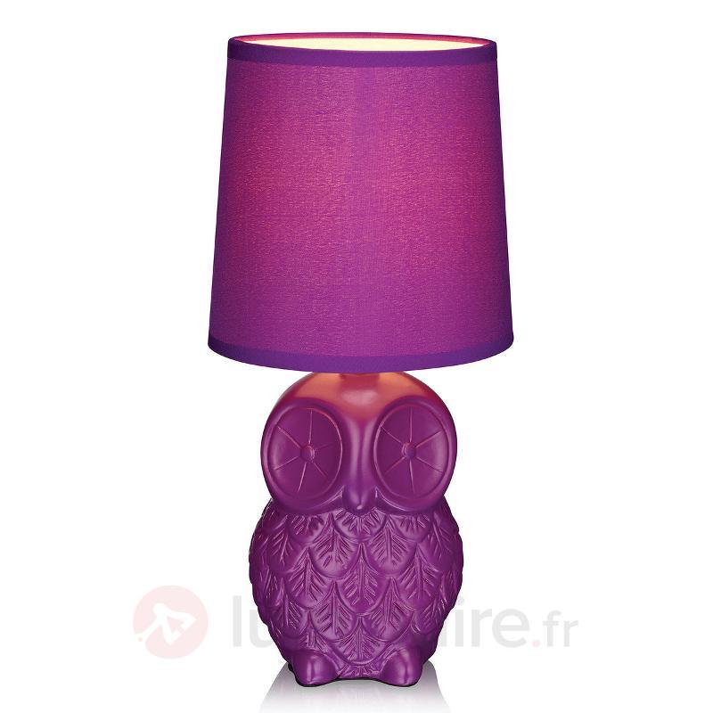 Lampe à poser Helge en forme de hibou mauve - Lampes à poser en tissu