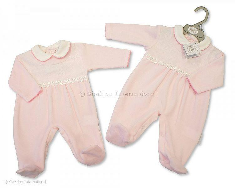 Baby Girls Velour All in One with Lace - 361 - Velours