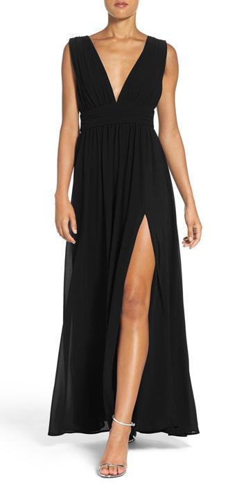Robe longue fendue noire -