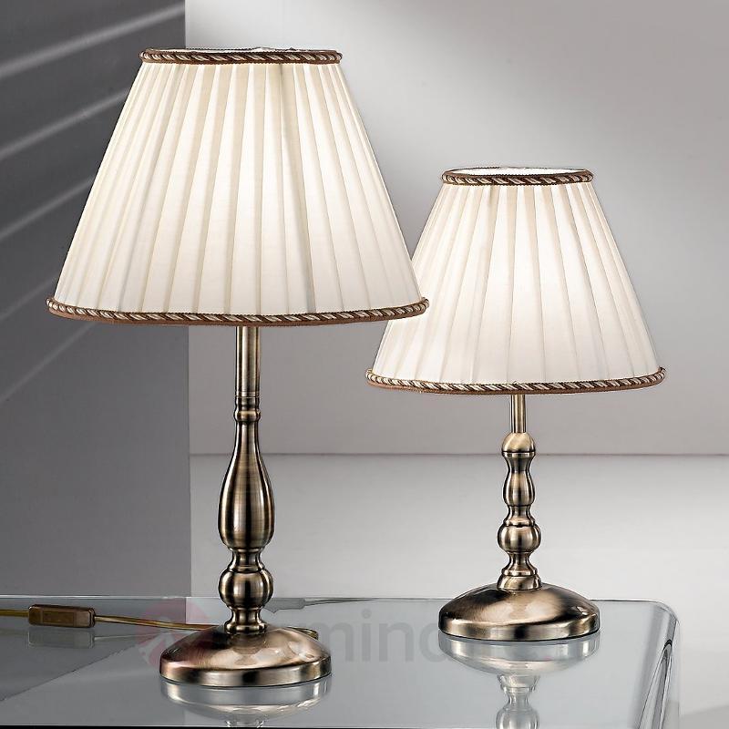 Lampe à poser ROSELLA avec abat-jour plissé crème - Lampes à poser classiques, antiques
