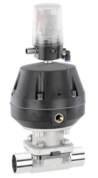 Pneumatically operated diaphragm valve GEMÜ 687 - The diaphragm valve has a plastic membrane actuator and is pn. operated.