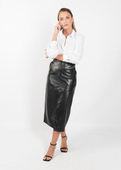 Falda midi negra - Falda polipiel mujer