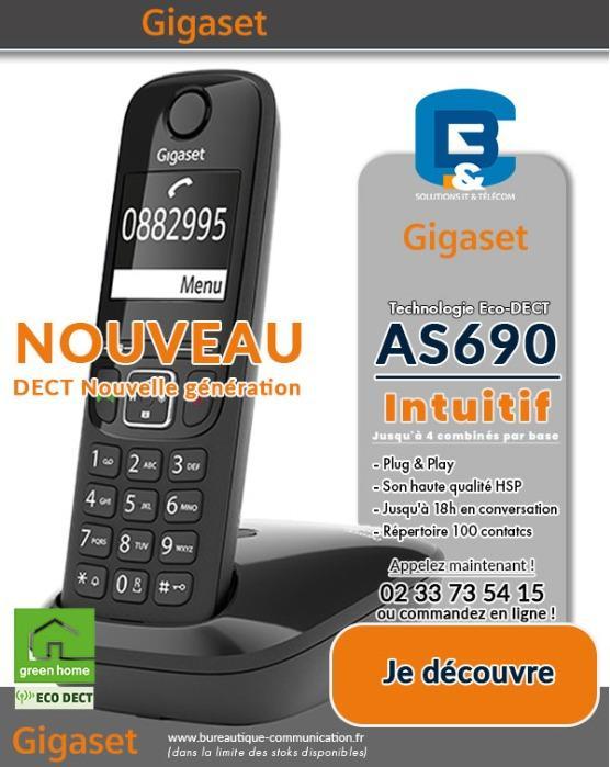 NOUVEAU ! TÉLÉPHONE GIGASET AS690 - Compatible toutes box, combinés supplémentaires possibles, Main Libr;