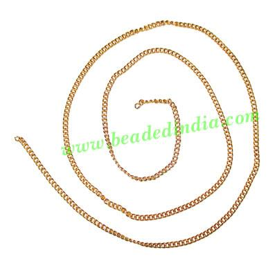 Gold Plated Metal Chain, size: 0.5x2mm, approx 131.8 meters  - Gold Plated Metal Chain, size: 0.5x2mm, approx 131.8 meters in a Kg.