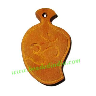 Handmade wooden om pendants, size : 43x28x7mm - Handmade wooden om pendants, size : 43x28x7mm