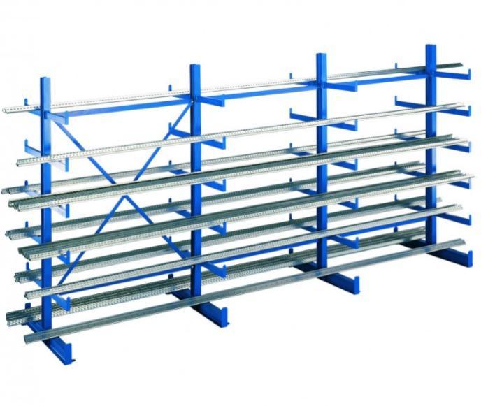 K 1000 cantilever racking, 2000x5000x2x500 mm shelv - K 1000 cantilever racking, 2000x5000x2x500 mm, RAL 5010 gentian blue