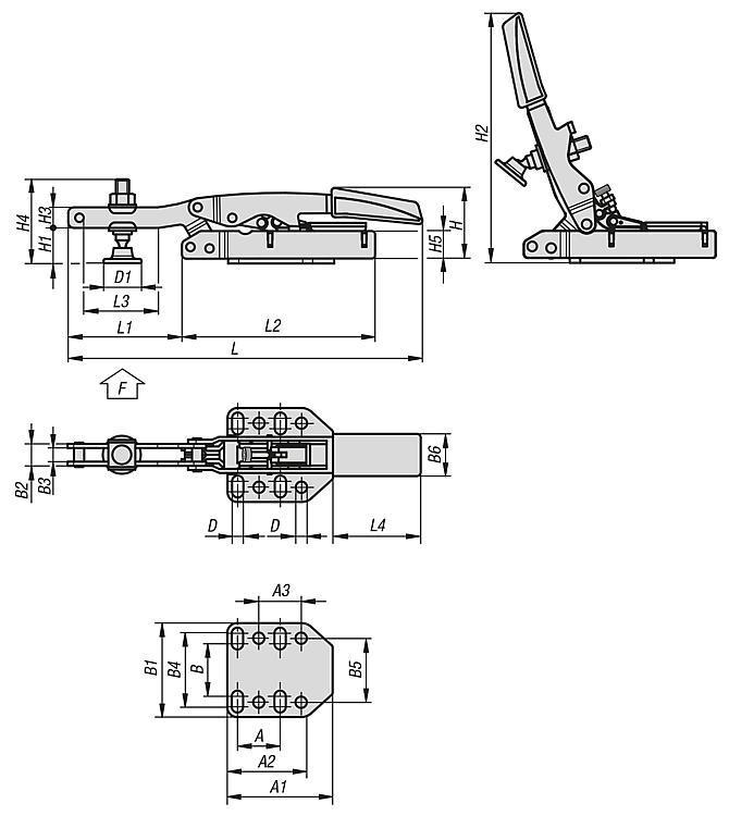 Flexibles Normteilesystem - Schnellspanner variabel, horizontal, mit waagrechtem Fuß