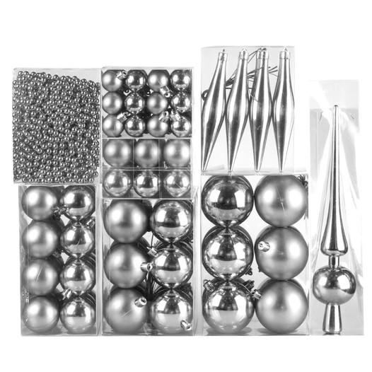 Weihnachtskugel 130-teiliges Set Farbe: Silber glanz / matt - null