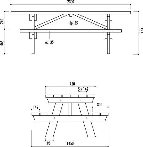 Table De Pique Nique Bois Munic - Tables De Pique-Nique