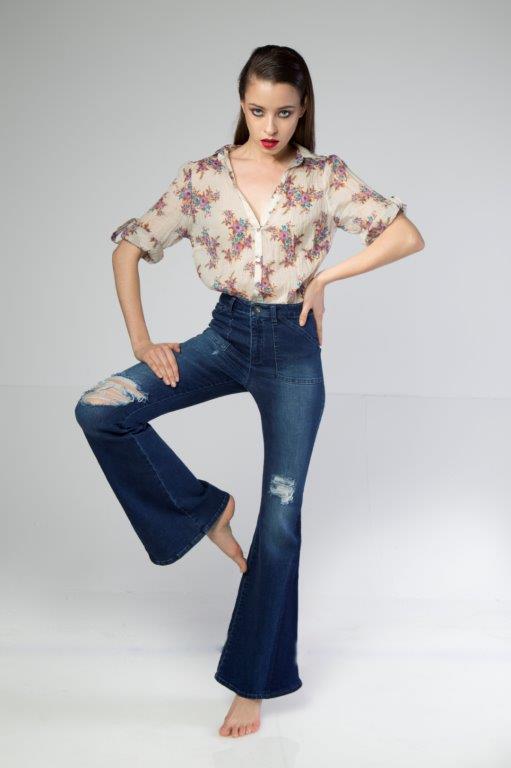 Stylish Flare Hem Double Tone Ripped Blue Women Jeans -