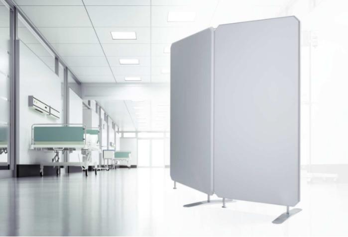 Oktagon Infektionsschutz Stellwand, antimikrobiell antiviral - Mobile Trennwände, flexibel, beliebig erweiterbar