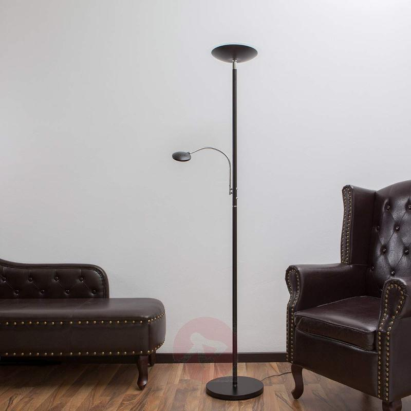 Uplight Malea with LED + reading arm, black - Floor Lamps