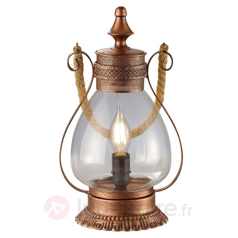 Lampe à poser cuivrée Linda, touche antique - Lampes à poser rustiques