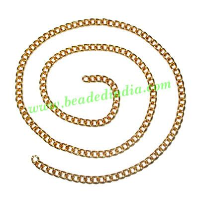 Gold Plated Metal Chain, size: 1x3.5mm, approx 42.4 meters i - Gold Plated Metal Chain, size: 1x3.5mm, approx 42.4 meters in a Kg.