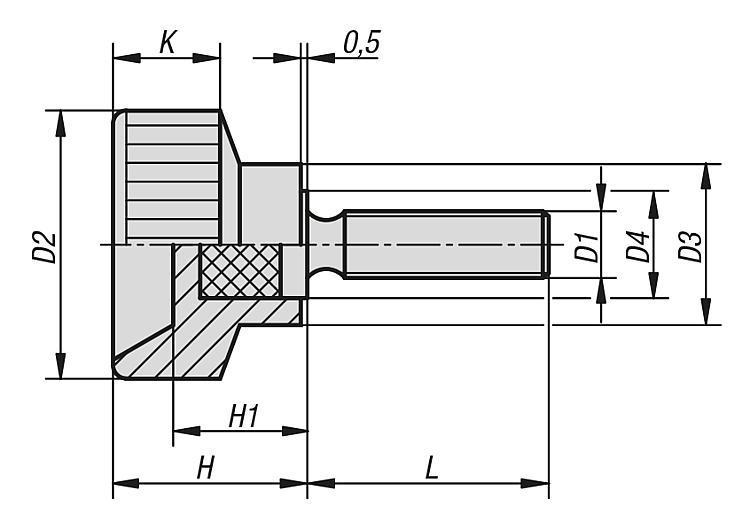 Śruby radełkowane z tworzywa sztucznego - K0141