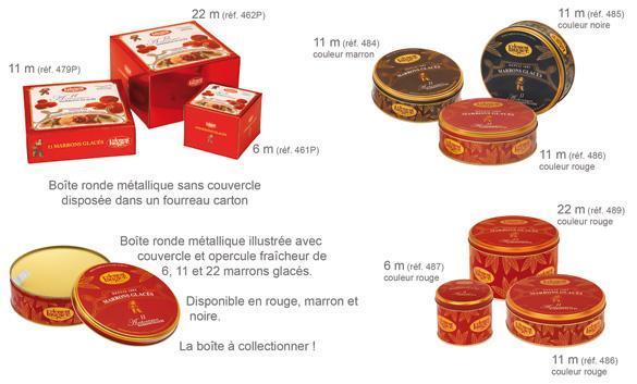 Boîte 22 Marrons sans couvercle dans une boîte carton coloris rouge