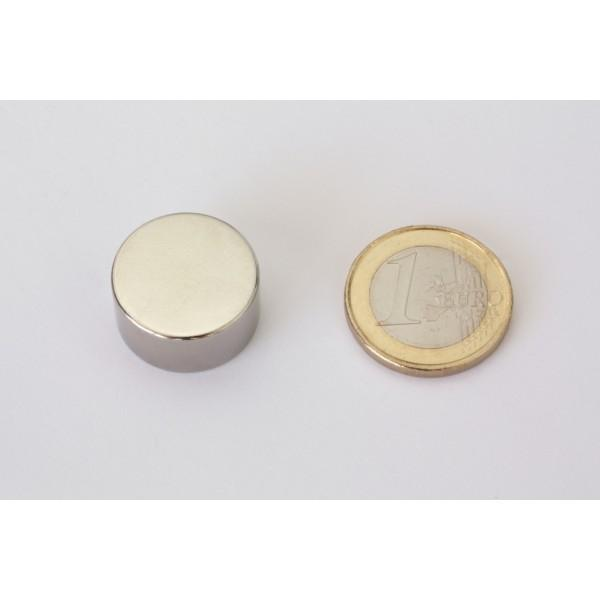 Neodymium disc magnet 20x10mm, N45, Ni-Cu-Ni, Nickel coated - Disc