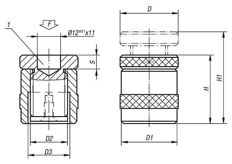 Screw rest with flat face, aluminium - Support elements