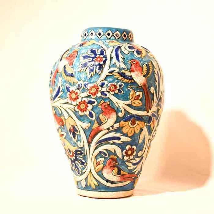 Handpainted Relief Vase -