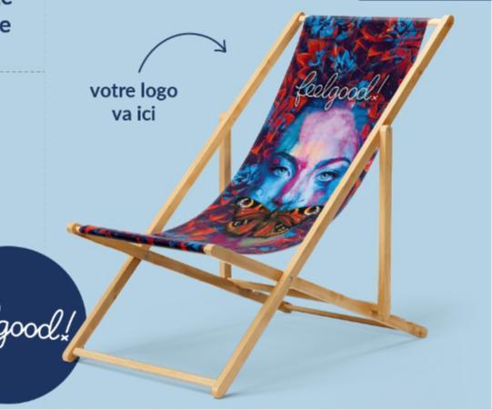 """Fournisseur fauteuils de plages pliants publicitaires - Voici une idée de reprise en relaxation remarquée. """"le Transat Publicitaire"""""""