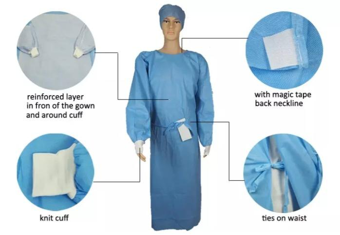 Hospital Medical Surgical Sterile Disposable Gown  - Non-Woven Material Cheap Sterilized Hospital Medical gowns Sterile doctor hospit
