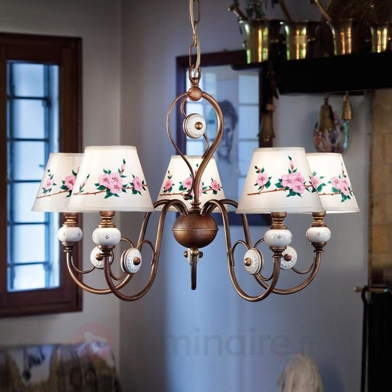 Intéressante suspension Francesca à 5 lampes - Suspensions rustiques