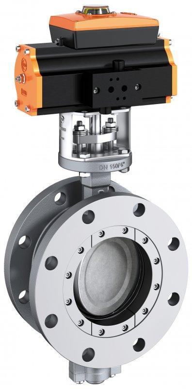 Válvula de cierre y control tipo HP 112 - Válvula mariposa de doble brida en construcción doble excéntrica.