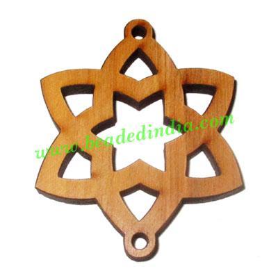Handmade wooden star pendants, size : 49x45x4mm - Handmade wooden star pendants, size : 49x45x4mm