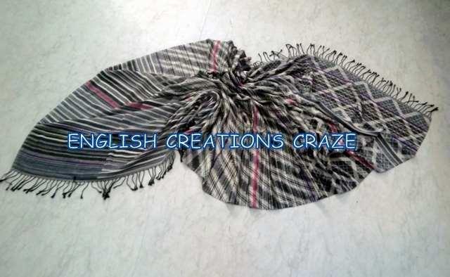 Wool Cotton Jacquard Scarves - Wool Cotton Jacquard Standard size multi stripes scarves
