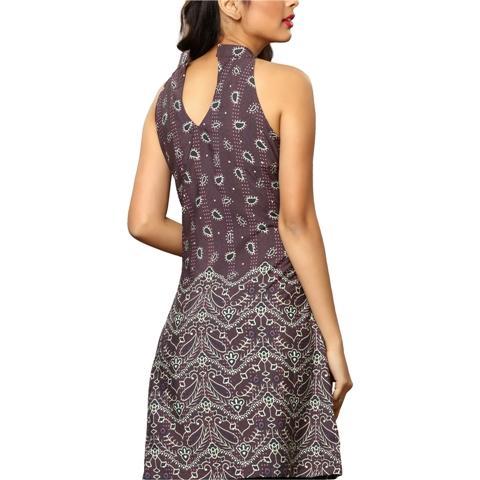 DRS-354 - SNS MissDivino Moss Crepe Printed Halter Neck Knee Length Short Dress