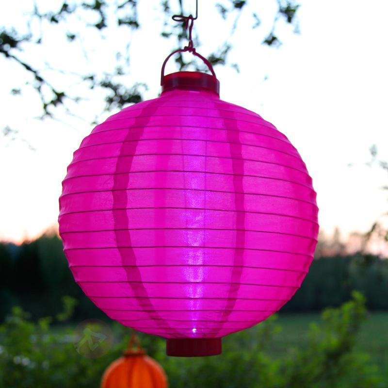 Lampion solaire LED Jerrit en rose rayonnant - Lampes solaires décoratives