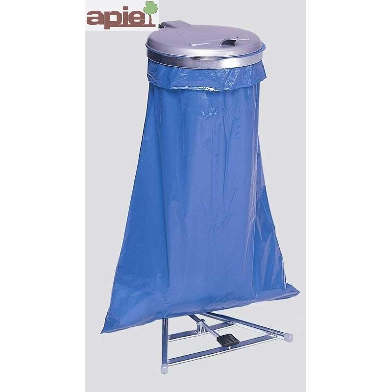 Support sac poubelle avec pédale + couvercle plastique - Référence : 10245