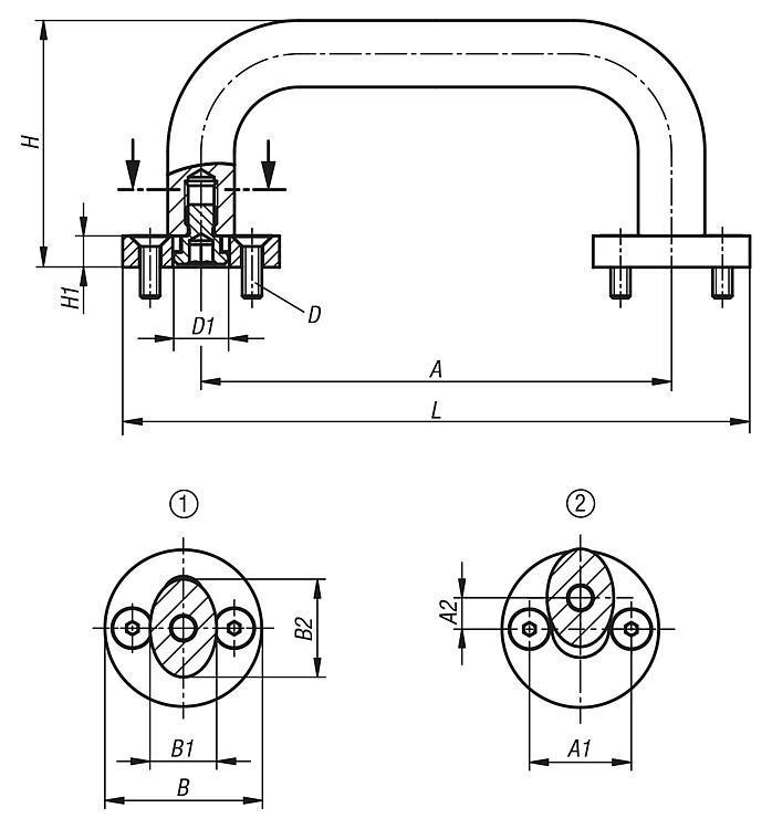 Poignée de manutention ovale amovible - Poignées de manutention, poignées tubulaires et poignées alcôve
