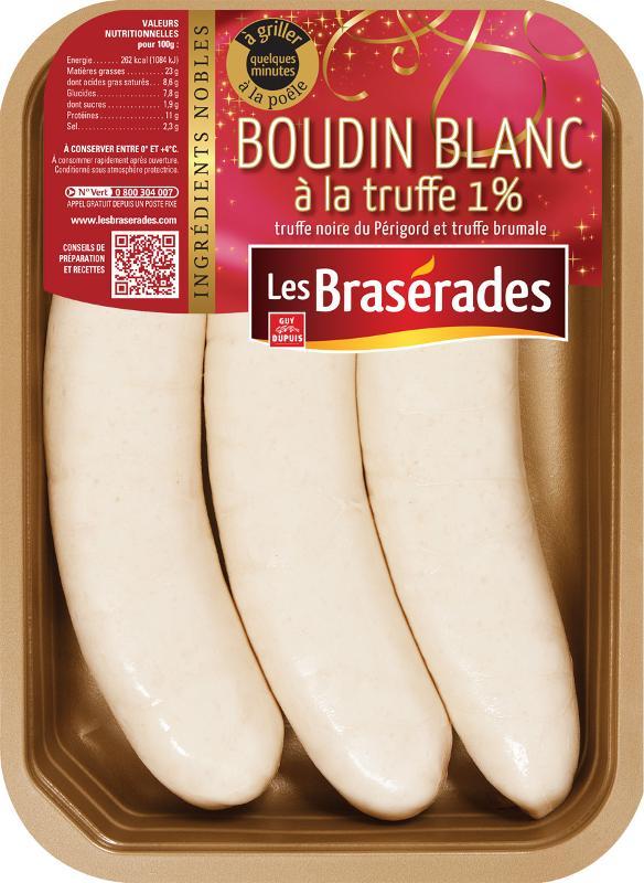 Boudin blanc à la truffe 1% (x3 390g, x8 1kg) - Viande et volailles